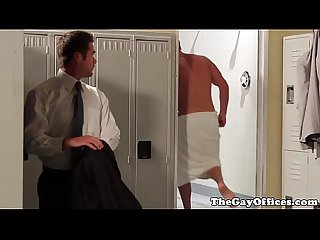 Showered officehunks analfuck after work