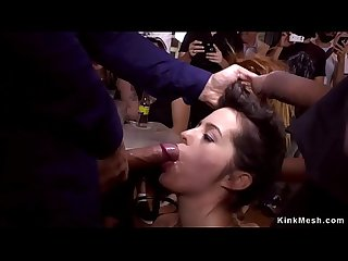 Mistress made babe fuck in public bar