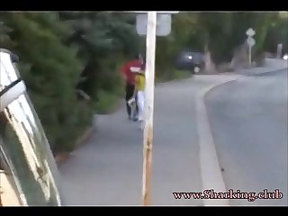 Sharking Teen Girl with Nice TIts walking Down The Street