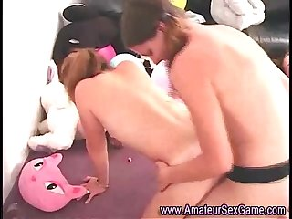 Lesbian amateurs fuck each other with strapon
