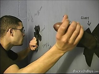 White guy sucking off black cocks at gloryhole
