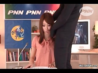 Japanese news reading babe sucking dick