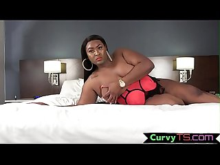 Ebony ssbbw jerks her cock before cumming