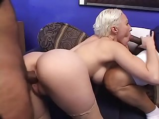 Hot blonde MILF Dalny Marga masturbates with a toy then gets double penetrated by two hunks