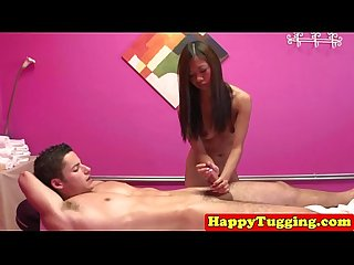 Skinny tugging masseuse with tanline