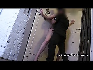 Police officer fucks blonde in elevator