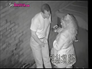 Hidden camera caught horny couple in alley on SpyAmateur.com