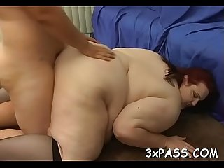 Ebony chap fucks fat girl