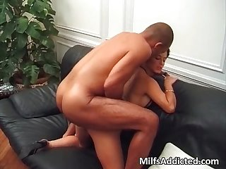 Hot short haired slut sucks and rides