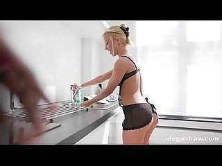 Blonde maid loves cucumber in her anus