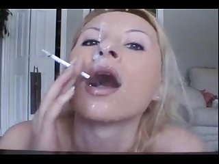 Smoking milf Blowjob cum swallow