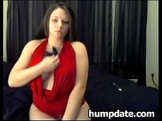 Busty brunette amateur babe teasing on webcam