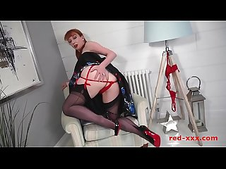 Big tit Red XXX fucking herself with a big black dildo