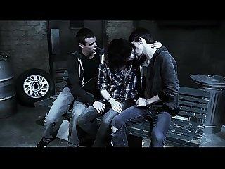 Three dark vampire teens massaging cock orally
