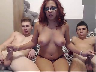 Busty girl fuck two guys on webcam camgirlserotic com