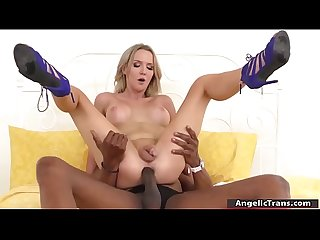Busty Ts blonde Suck n bareback by Bbc