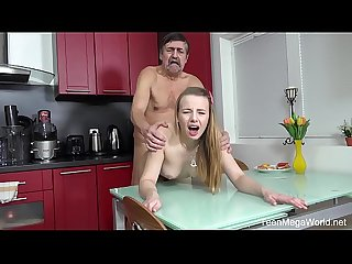Old n Young com Angel older man cums on fresh tits for dessert