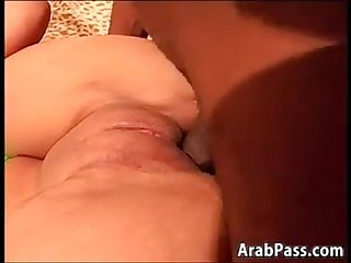 Cute Arab enjoying a black guys big cock