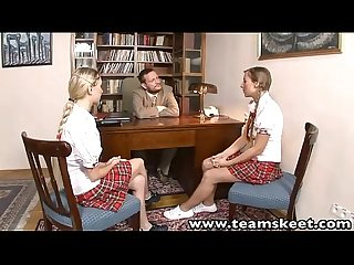 Teamskeet european schoolgirls mina and morgan threesome sex punishment