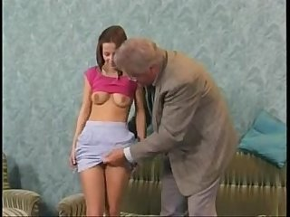 Shy teen have fun with grandpa
