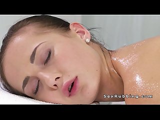 Busty euro masseuse fingering oiled client