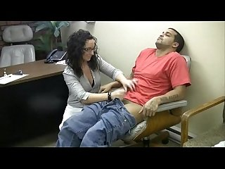 Lady boss performs masturbation to an employee