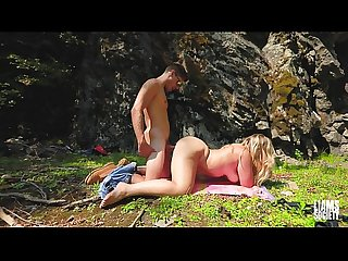 Girl taken on hike and fucked by waterfall
