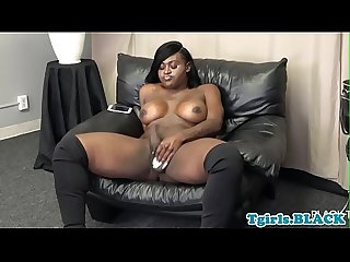 Busty ebony shemale masturbating passionately
