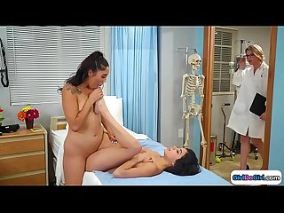 Doctor joins 2 bffs licking in examroom