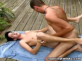 Gay Jocks' Outdoor Backyard Bareback Fuck