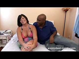 Cute brunette milf w big tits fucks big black cock in amateur bbc video