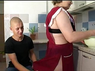Mature mom with young boy