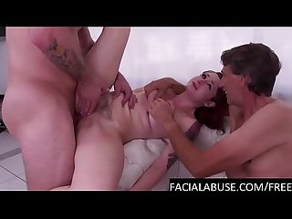 Redhead pornstar gagging hard & nasty Double Penetration