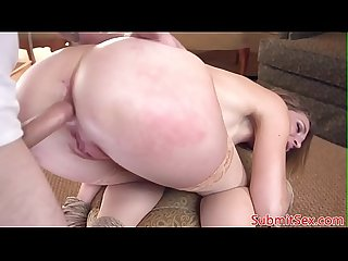 Assfucked sub MILF sprayed with doms jizz