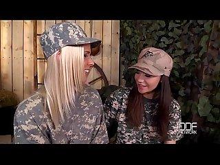 Blonde vs brunette military lesbian fuck off