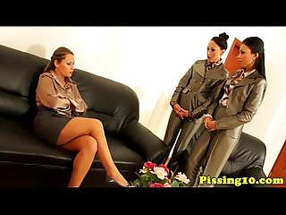 Pissing lesbian threeway glam fun from europe