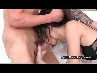 Fit amateur guy bangs slim female agent in casting