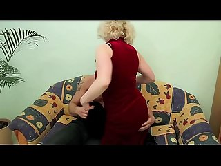 Old blonde milf fucks young dude