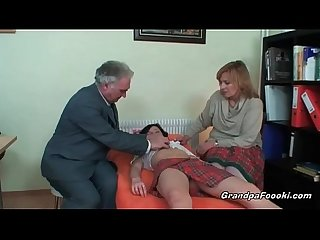 Nasty slut gets seduced by mature couple