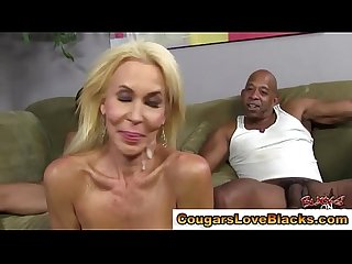 Interracial threesome cougar gets facials after being fucked