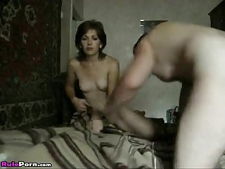 Skinny Brunette Wife Gets Wild On Bed