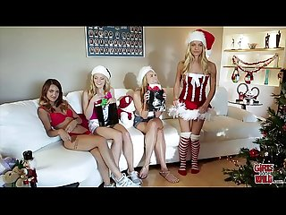 Girls gone wild horny sorority sisters celebrate christmas with hot lesbian sex