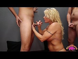 Big tit milf blowbangs and takes cumshots