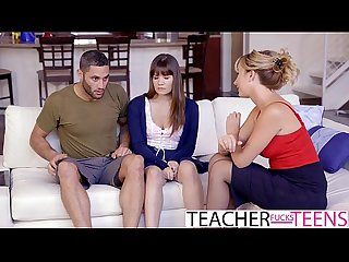 Hot teacher tricks students into threeway fuck
