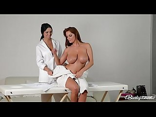 Busty lesbians Sheila Grant & Kira Queen suck big tits & finger their pinks