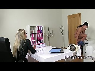 Natural busty amateur takes strapon on casting