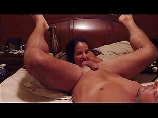 Hungry brunette milf eats ass