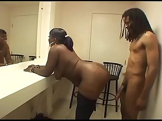 Sexy black fat girl in stockings banged on a chair excl