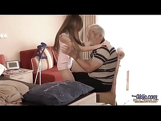 Old young big cock grandpa fucked by teen she licks thick old man penis