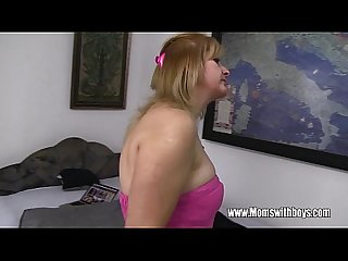 Mature blonde stepmom fucks her lucky stepson